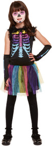 Girls Rainbow Bones Fancy Dress Costume