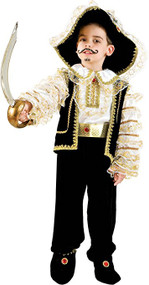 Baby Black/Gold Pirate Fancy Dress Costume