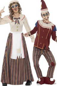 Couples Possessed Punch And Judy Fancy Dress Costumes