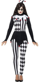 Ladies Black And White Jester Fancy Dress Costume