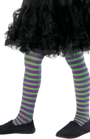 Girls Purple & Green Fancy Dress Tights