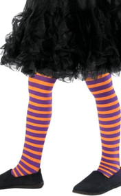 Girls Purple & Orange Fancy Dress Tights