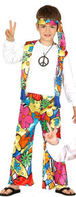 Child's Bright Hippie Fancy Dress Costume