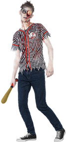 Teen Boys Zombie Baseball Player Fancy Dress Costume