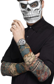 Day Of The Dead Tattoo Sleeves Fancy Dress Accessory
