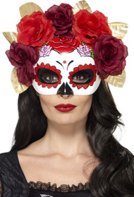 Ladies Day Of The Dead Red Floral Eye Mask