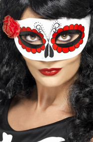 Ladies Mexican Day Of The Dead Fancy Dress Eye Mask