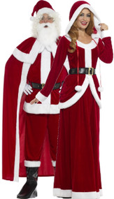 Couples Deluxe Mr and Mrs Claus Fancy Dress Costume