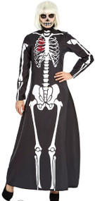 Ladies Long Classy Skeleton Fancy Dress Costume
