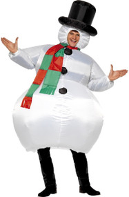 Adults Inflatable Snowman Fancy Dress Costume