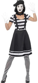 Ladies French Mime Artist Fancy Dress Costume