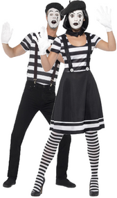 Couples French Mime Artist Fancy Dress Costumes