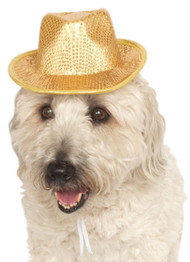 Dog Gold Sequinned Fedora Hat