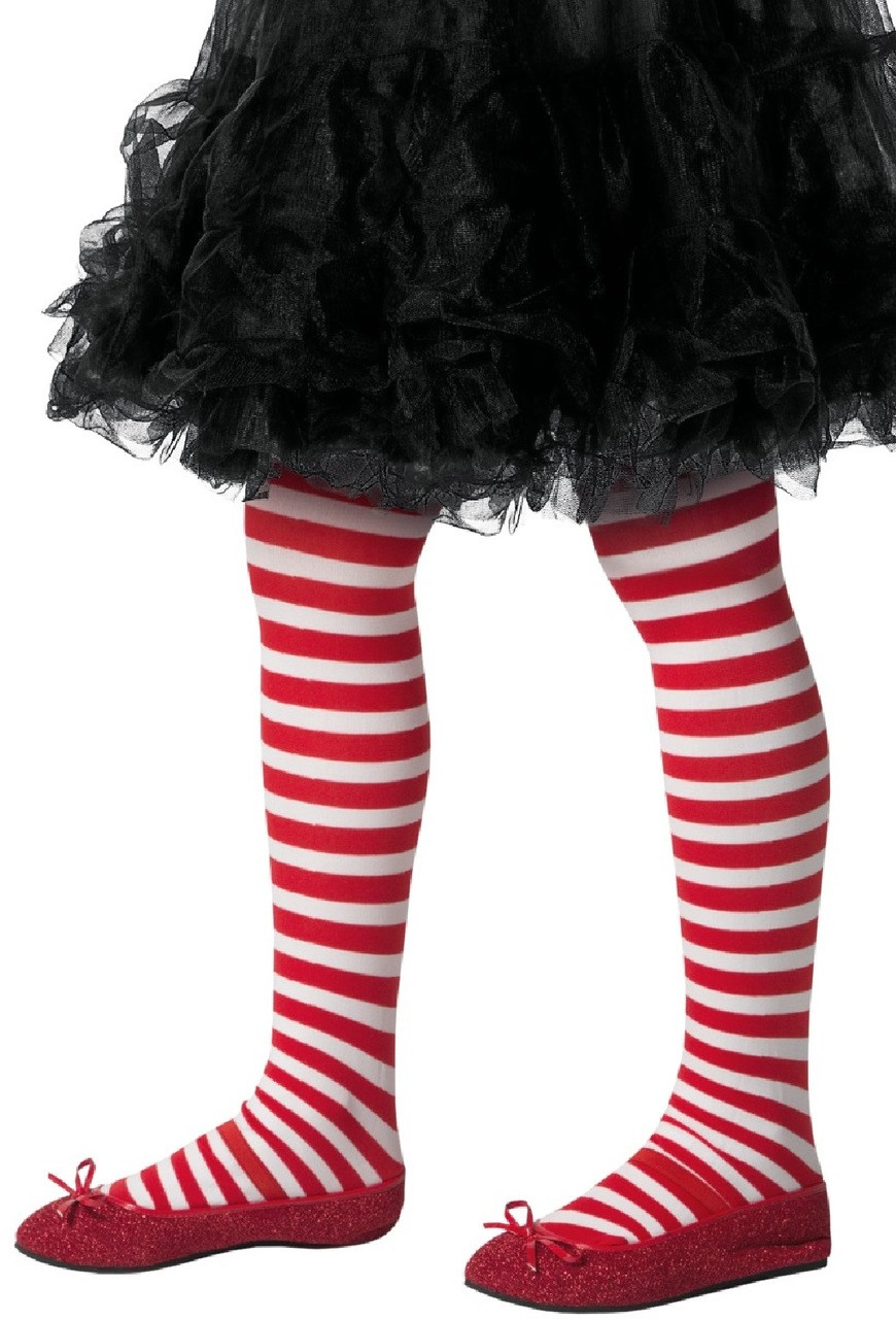 afc0c669fb370 Girls White & Red Candy Cane Fancy Dress Tights - Fancy Me Limited