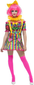 Ladies Neon Patchwork Clown Fancy Dress Costume