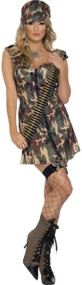 Ladies Camo Girl Fancy Dress Costume