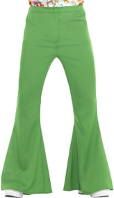 Mens Green 70s Flares Fancy Dress Trousers