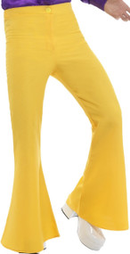 Men's Yellow 70's Flares Fancy Dress Trousers