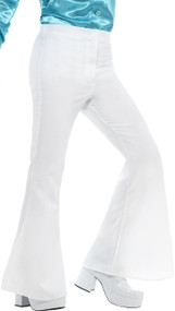 Mens White 70's Flares Fancy Dress Trousers