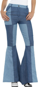 Ladies Deluxe Denim Flares Fancy Dress Trousers