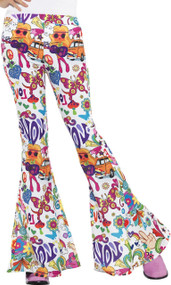 Ladies Pop Art Flares Fancy Dress Trousers