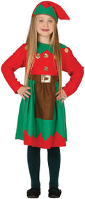 Girls Christmas Elf Fancy Dress Outfit