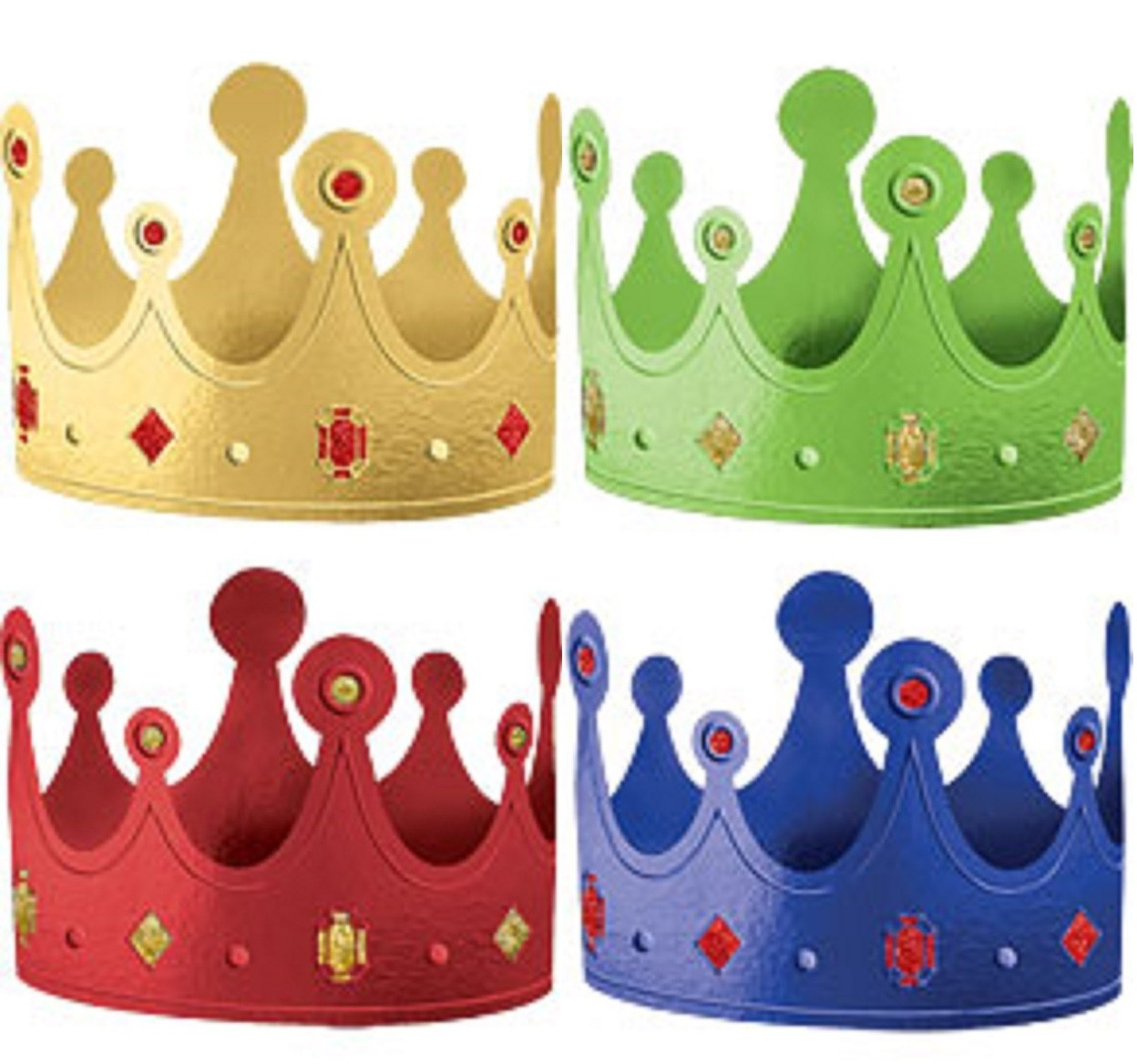 Pack Of 12 Crown Party Hats