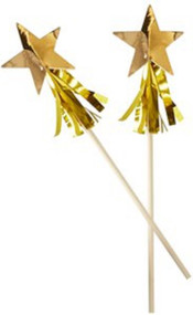 Gold Metallic Star Tassel Drinks Stirrers