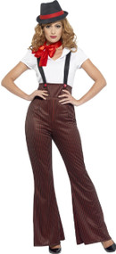 Ladies Pinstripe Gangster Fancy Dress Costume