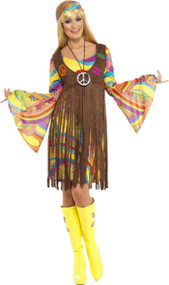 Ladies Fringed Hippie Fancy Dress Costume