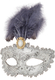 Ladies Silver Feathered Masquerade Eye Mask