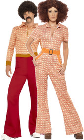 Couples Authentic 70s Fancy Dress Costume