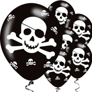 "Pirate Skull & Crossbones 11"" Latex Party Balloons"