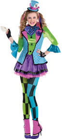 Older Girls Sassy Mad Hatter Fancy Dress Costume