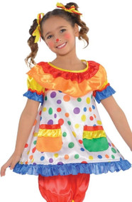Girls Colourful Clown Fancy Dress Costume