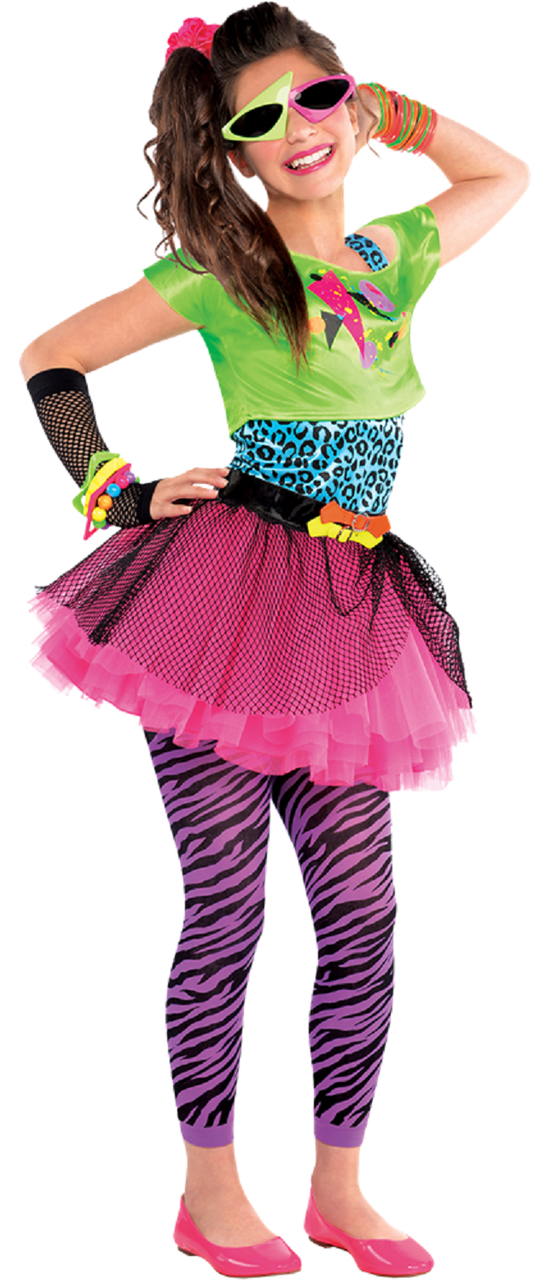Older Girls Totally Awesome 80S Fancy Dress Costume -4059