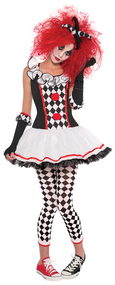 Ladies Harlequin Honey Jester Fancy Dress Costume