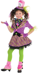 Girls Crazy Mad Hatter Fancy Dress Costume