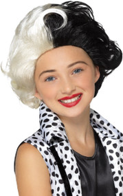 Girls Dalmatian Diva Fancy Dress Wig