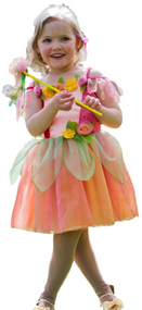 Girls Peach Flower Fairy Fancy Dress Costume