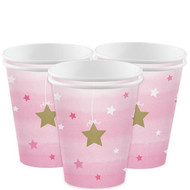 Girls Pink Star Birthday Party Cups