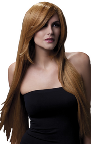 Ladies Professional Auburn Amber Long Wig