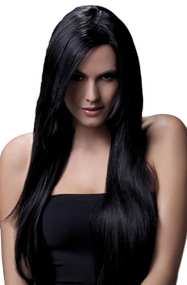 Ladies Professional Black Amber Long Wig
