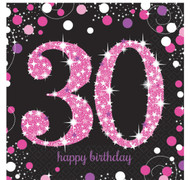 30th Birthday Pink Celebration Party Napkins