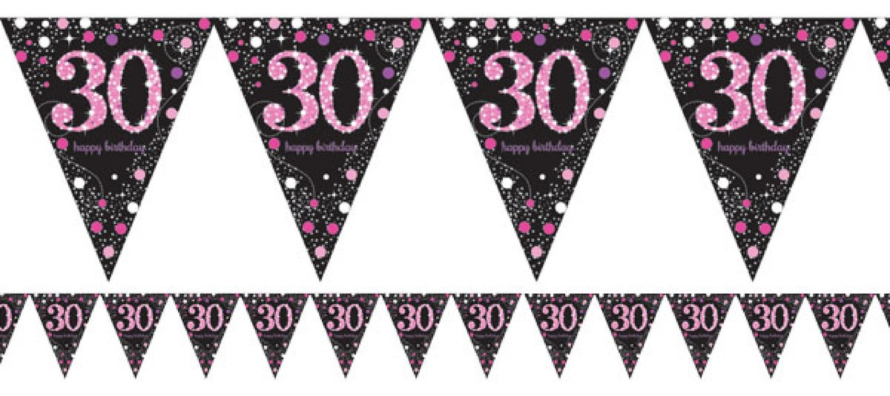 30th Birthday Pink Celebration Party Bunting Image 1