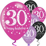 30th Birthday Pink Mix Party Balloons
