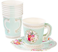 Floral Vintage Party Cups & Saucers