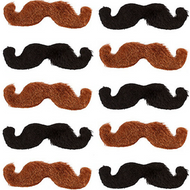 Brown & Black Pack Of 10 Moustaches