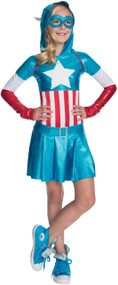 Girls Captain America Fancy Dress Costume