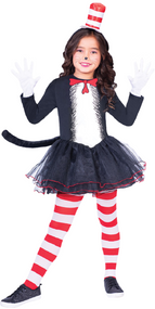 Girls Dr Seuss Cat In The Hat Fancy Dress Costume